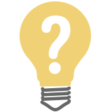 Light bulb icon with a question mark in the middle